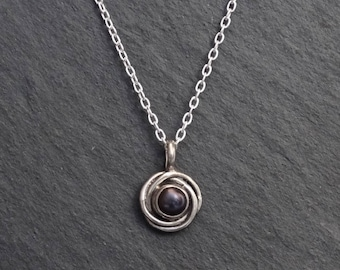 Pearl Pendant Necklace, Pearl Nest Pendant, Black Freshwater Pearl, Silver and Pearl, June Birthstone, Birthstone Necklace, Sterling Silver