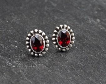 Garnet Earrings, Silver and Garnet Stud Earrings, January Birthstone, Oval Garnet Studs, Faceted Garnet, Sterling Silver Detail
