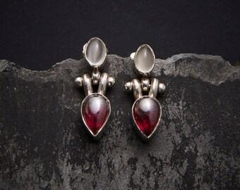 Garnet Earrings, Moonstone Earrings, Silver Drop Earrings, Simple Earrings, Hinge Earrings, Sterling Silver, Garnet, Moonstone