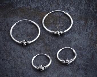 Silver Hoops, Hoop Earrings, Hoops, Wire Wrapped Earrings, Everyday Earrings, Sterling Silver, Knot Earrings