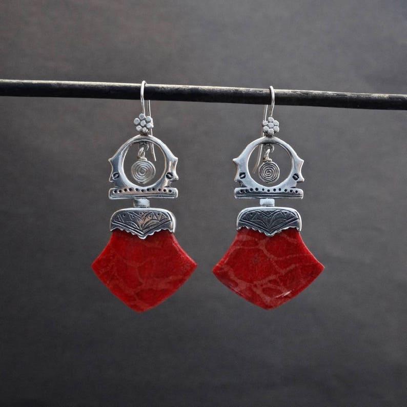 2e32e39aa Silver Tuareg Earrings Bamboo Coral Earrings Red Earrings | Etsy