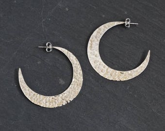 Silver Hoops, Hammered Silver Hoops, Unusual Hoop Earrings, Moon Hoop Earrings, Beaten Silver Earrings, Textured Silver, Sterling Silver 925