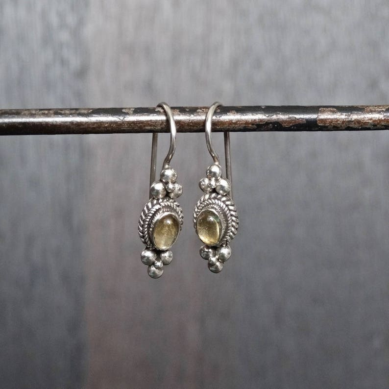 a4ac43181 Citrine Drop Earrings Citrine and Silver November | Etsy