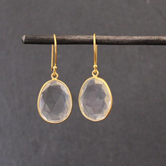 April Birthstone Statement Earrings Round Earrings Gold Vermeil Drop Earrings Herkimer Diamond Earrings Party Earrings