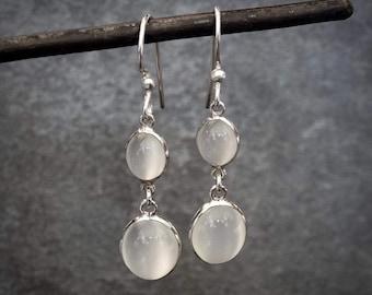 Moonstone Earrings, Moonstone Drops, White Moonstone, June Birthstone, Sterling Silver, Semi Precious Stone, Gemstone Earrings