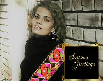 Hand embroidered Pashmina Phulkari embroidery wrap