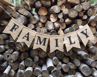 Family Burlap Banner