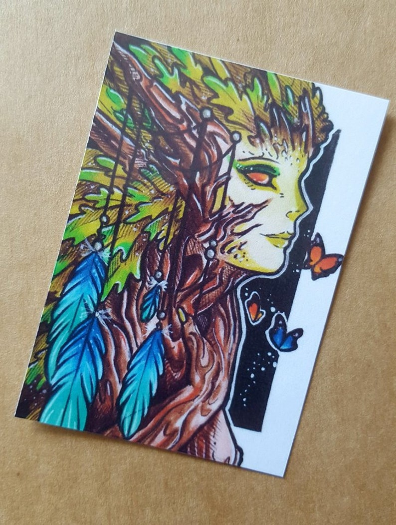 sprite artist trading card fairy art miniature art woodland art tree fairytale art nature art ACEO print forest ACEO