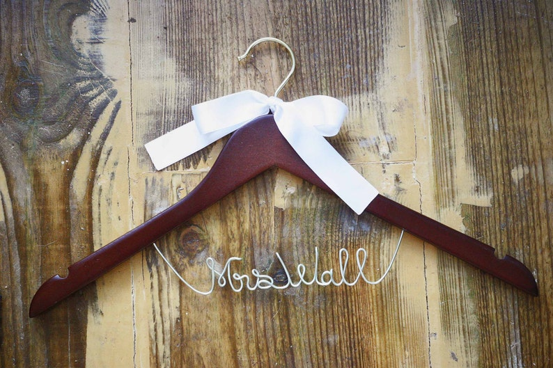 personalized dress hanger silver wire custom hanger Bridal wedding hanger wedding dress hanger personalized wired wedding hanger