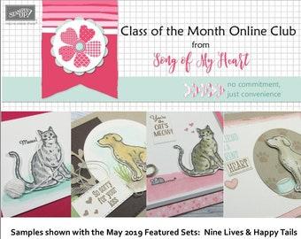 Class of the Month: Happy Tails & Nine Lives PLUS BONUS PDF Instant Digital Download Cardmaking Classes cat dog kitty puppy pet tutorials