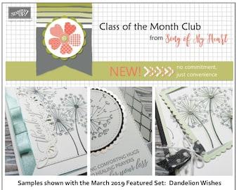 Class of the Month: Dandelion Wishes PLUS BONUS PDF Instant Digital Download Cardmaking Classes, bundle, tutorials, summer, wind, blow, seed