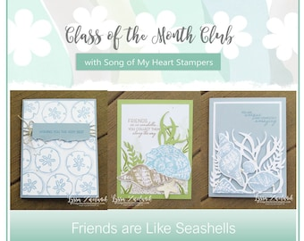 Class of the Month: Friends are like Seashells PLUS BONUS PDF Instant Digital Download Cardmaking Classes, tutorial, Stampin Up, shore beach