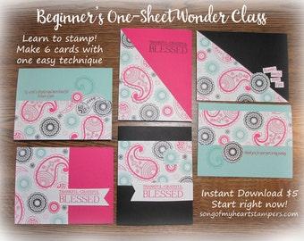 Beginner's One-Sheet Wonder Cardmaking Class: Instant Digital Download PLUS BONUS PDF