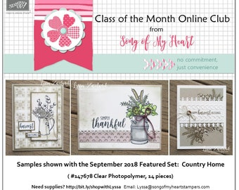 Class of the Month: Country Home PLUS BONUS PDF Instant Digital Download Cardmaking Classes farmhouse style rubber stamps jug chicken wire