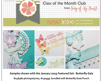 Class of the Month: Butterfly Gala PLUS BONUS PDF Instant Digital Download Cardmaking Classes butterflies, punch art, spring, bundle, stamps