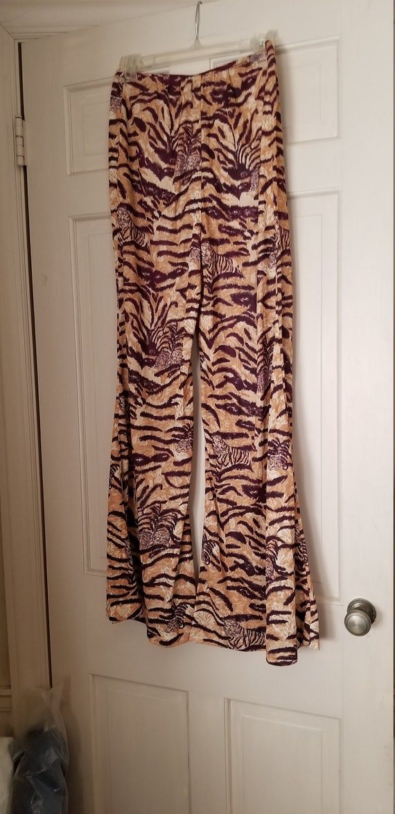 Vintage 1970s Tiger Women Pants Size 14, jungle pa