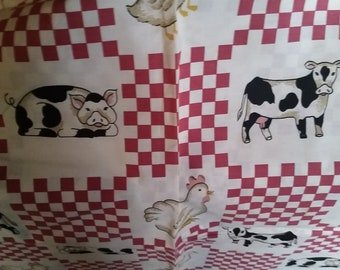 Country Folk Art Red and Check with Cows,Pig's in PATCHWORK Design Sold by 1/2 yd