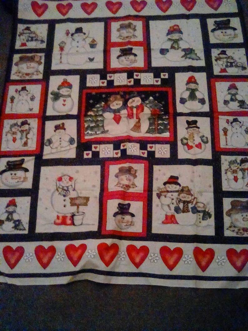 Snowmen Buddies Various Scene Fabric Panel Oop