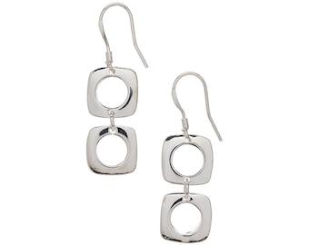 Sterling Silver Modern-in-Style Drop Earrings