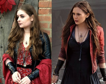 Wanda Maximoff/Scarlet Witch Cosplay Leather Zip Gloves/Wrist-Warmers Avengers Age of Ultron