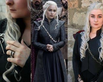 Daenerys Targaryen Dragonstone Season 7 Three Headed Dragon Pin & Chain ONLY Game of Thrones Cosplay