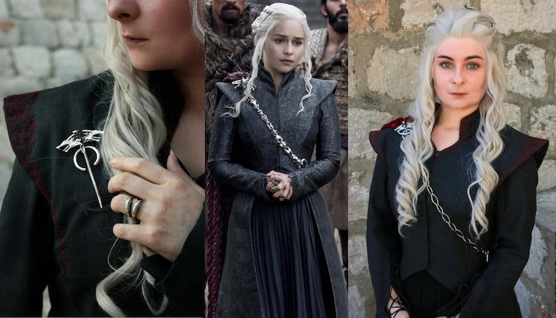 Daenerys Targaryen Season 7 Three Headed Dragon Pin & Chain image 0