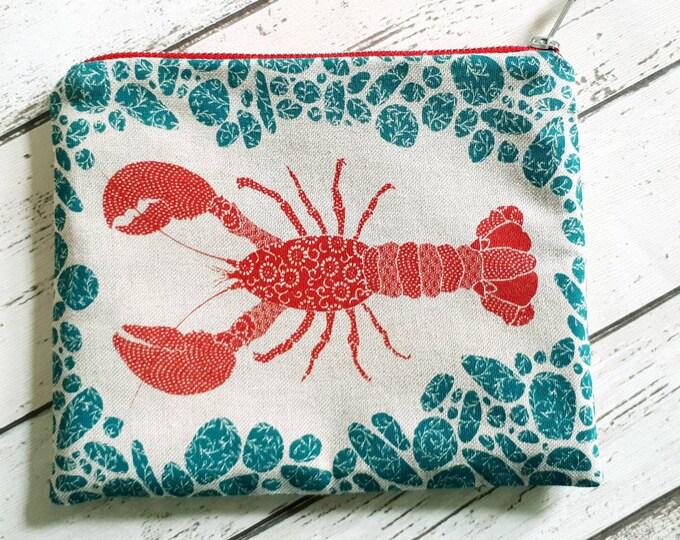 Lobster zip bag. Colourful coastal bag, Scottish gift, gift for mum