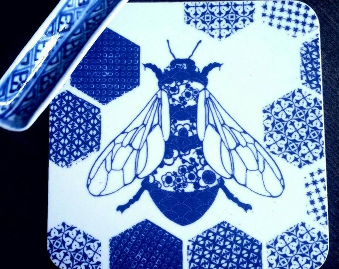 Bee coasters, set of 4, drinks mats