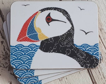 Puffin coasters , coastal coasters, set of 4, colourful drink mats, mothers day gift, puffin drinks mats, coastal housewarming,