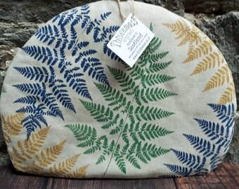 Fern tea cosy. Leaf tea cosy. Hand pulled, screen printed cotton, handmade in Scotland.