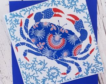 Crab card, blue crab card, coastal greetings card, Hand printed card, red, white and blue card.