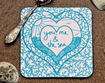 You, Me and the Sea Coasters,  Coastal coasters, turquoise and white coasters, set of 4.