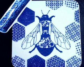 Bee coasters, set of 4, drinks mats