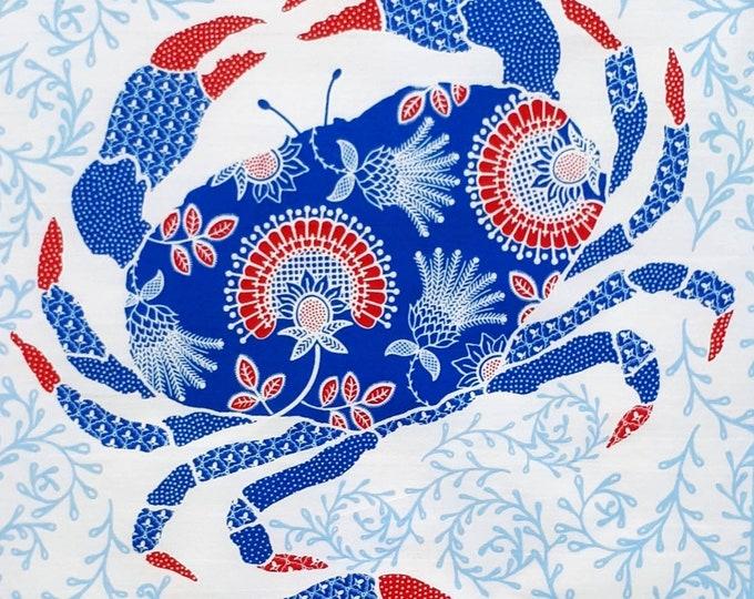 Blue Crab Tea Towel, Crab Tea Towel, Coastal Tea Towel, Scottish Nautical Tea Towel, Seaside Tea Towel, Coastal Kitchen, mothers day gift,