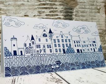 Coastal greetings card. Handmade hand printed greetings card, coastal housewarming card, Scottish card