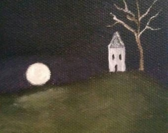 House On A Hill - Oil Painting - Mini