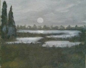 Marsh Nocturne - Oil Painting