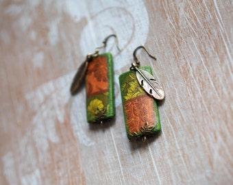 Woodland Earrings, Romantic Green Earrings, Leaf Jewelry Earrings, Eco Friendly Wood Earrings, Lime Earrings