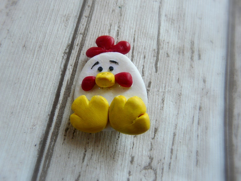 Cute Chicken Brooch Children Brooch Easter Themed Accessory Kids Handcrafted Easter Kids Gifts White Hen Pin Funny Chicken Brooch Pin