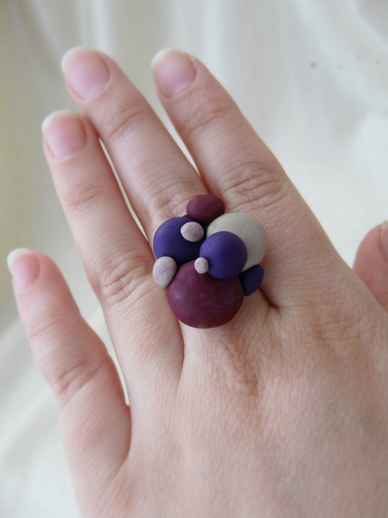 Bubble Ring Hipster Ring Adjustable Novelty Ring Purple Geometric Ring Polymer Clay Ring