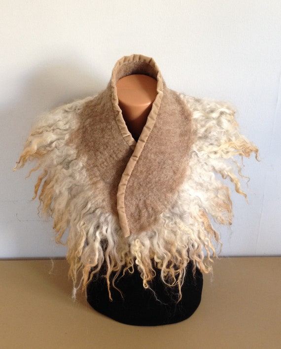 Felted Wool Scarf / Wrap with Natural Icelandic Sheep Locks