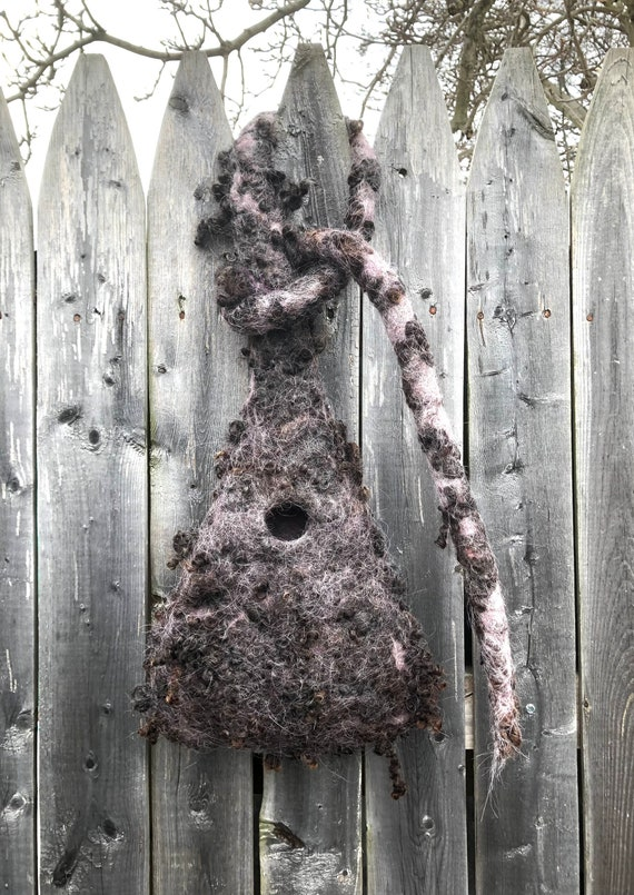 Hanging Wet Felted Nesting Bird Pod