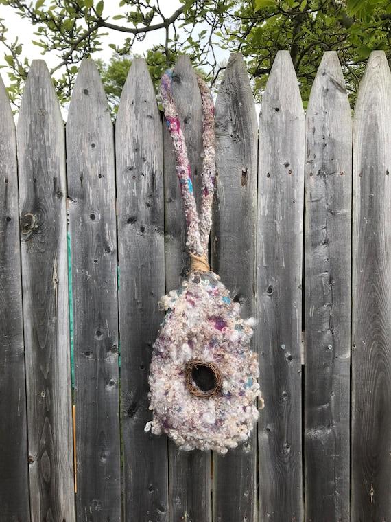 Hanging Wet Felted Nesting Bird Pod