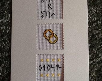 Lovely Handmade Cross Stitch MR & MR Wedding Card