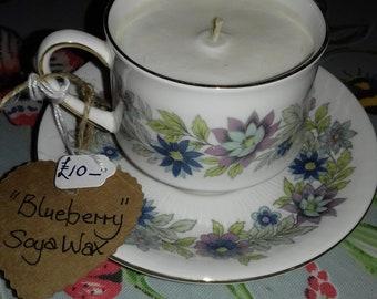 Cotton Candy Quartz Tea Cup Soy Candle with Rose Petals in Vintage Paragon Tea Cup