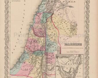 Palestine Vintage Map Colton 1856 Original
