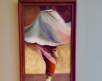 Ballerina Signed Hand Painted Ballerina Oil Painting On Canvas - Impressionist Ballet Dancer Art Ballerina fine art/ Professionally Framed
