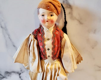 Antique Greek Soldier / Guard Doll Paper Mache Head And Cloth Body / Sweet Hand Painted Face
