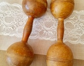 Antique Wood Dumbbells, Set of Two, Wooden 1 pound Weights, Home Decor, Sports Decor