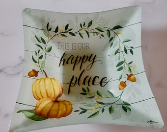 Handmade Signed Glass Bowl, Large Square Glass Bowl, Serving Bowl, This is our happy place, Housewarming gift